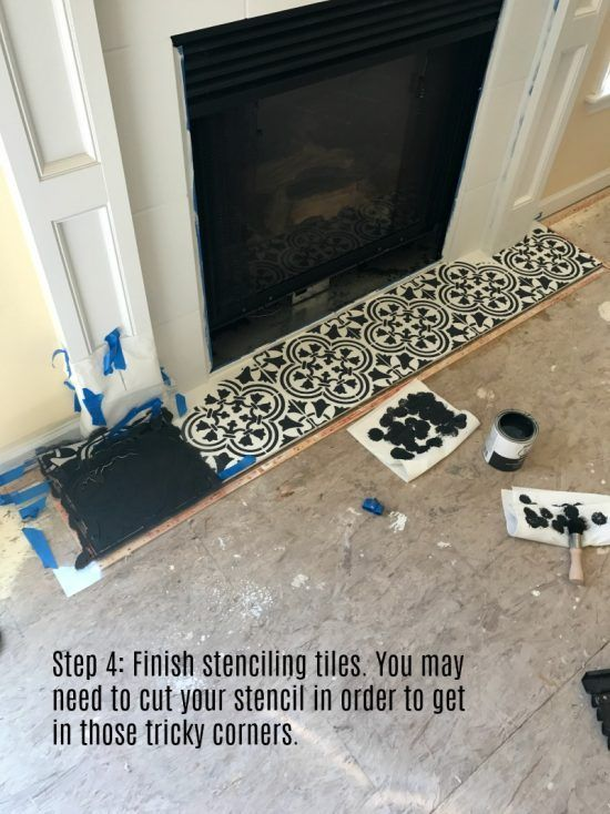 Modernize Your Farmhouse Fireplace With A Stencil Stencil Stories Fireplace Tile Fireplace Makeover Paint Fireplace Tile