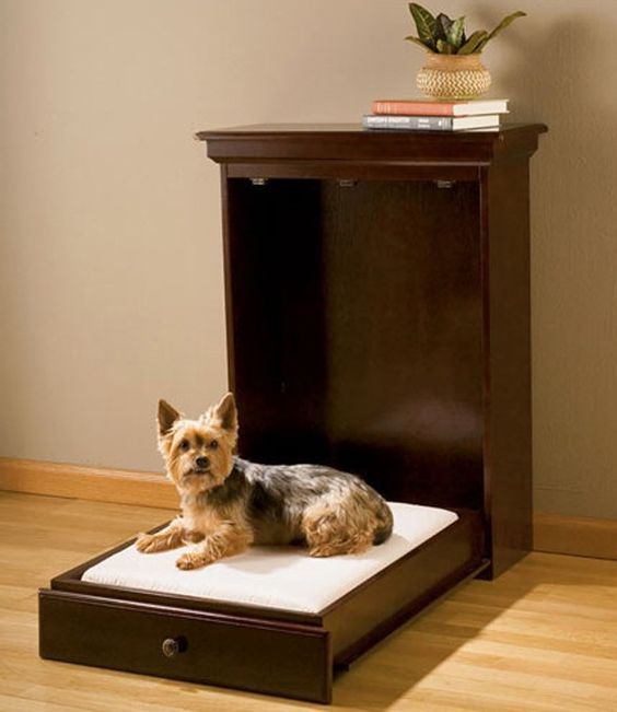 Space saving can extend to your pets, with a dog sized murphy bed. Wonder if they'd try to pull it down themselves?