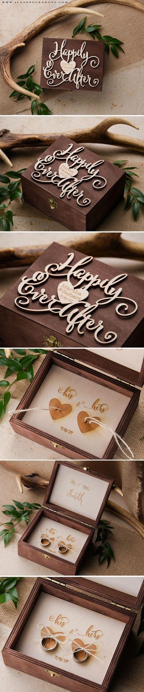 Happily Ever After ♥ Wedding Wooden Ring Bearer Box #weddingideas #boho #rustic…
