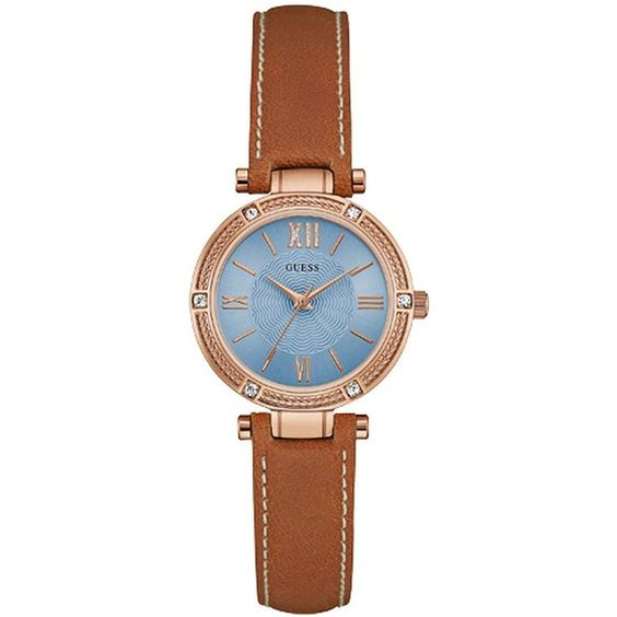 Guess Park Aveneue Crystal-Accented Rose Goldtone and Leather Watch (€99) ❤ liked on Polyvore featuring jewelry, watches, brown, guess watches, leather wrist watch, brown leather band watches, quartz movement watches and rose jewellery