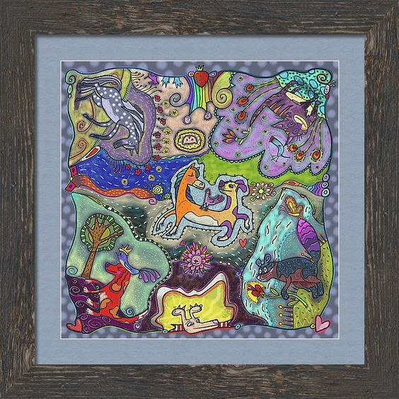Raccoon Framed Print featuring the painting Mixed Animal Faves by Marti McGinnis