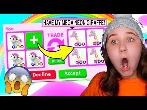 Mega Neon Giraffe Pet Found In Roblox Adopt Me Youtube Adoption Giraffe Roblox