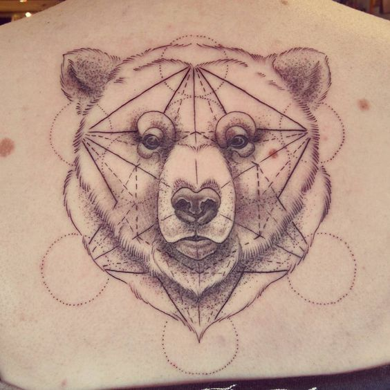 Geometric bear tattoo by Alex M Krofchak at The Tattooed ...