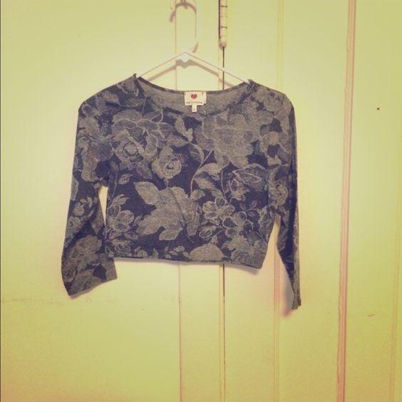 Flower long sleeve crop top. Flower long sleeve crop top. Never worn. one clothing Tops Crop Tops