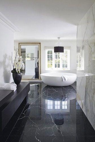 Modern black and white luxury bathroom design. See more inspirations at homedecorideas.eu/ #homedecorideas #bathroom #luxuryhomes modern design, interior design, luxury interior design .