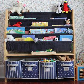 born ambitious. born imaginative.: Sling Bookshelf with Storage Bins for Kids