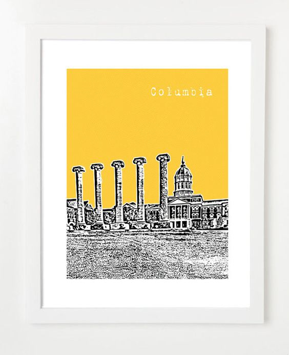 Columbia, Missouri Poster  - 8x10 City Skyline Art Print - Columbia Missouri Wedding Gift