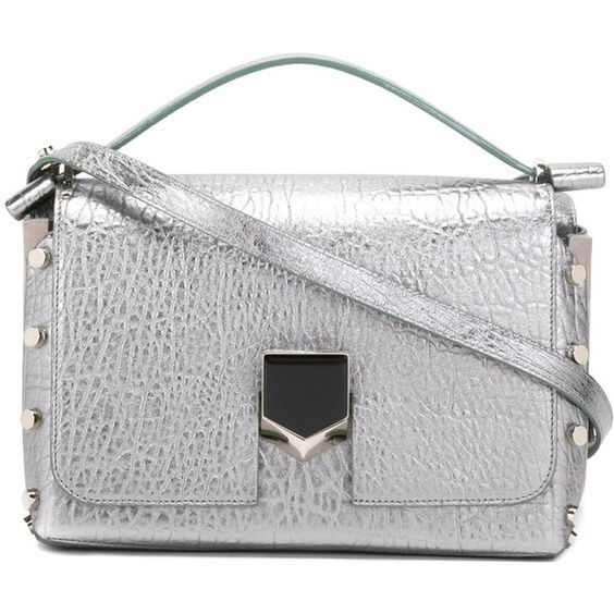 Jimmy Choo 'Lockett' shoulder bag (€1.965) ❤ liked on Polyvore featuring bags, handbags, shoulder bags, grey, purses, hand bags, handbags shoulder bags, gray shoulder bag, shoulder handbags and gray purse