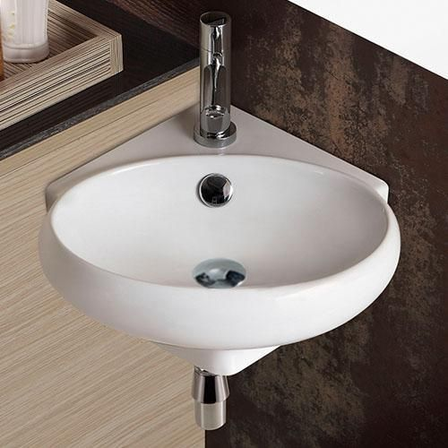 Designed For Corner Installation This Wall Mount Sink Includes Both Overflow And Drain Holes When Wall Mounted Sink Bathroom Sink Wall Mounted Bathroom Sinks