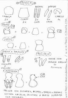 Panos e Panelas: Tutorial Boneca de Pano