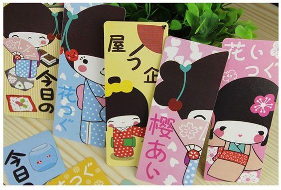 30 unids/lote nueva chica japonesa de papel favorito / marcas de libro de regalo…
