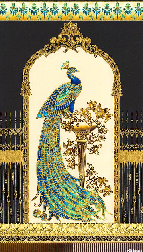 """Sapphire & Lapis Blue, Turquoise, Pale Jade, Ivory, Amber, Tiger's Eye Brown, Black, Gold Metallic Lone gilded peacock stands proudly on a regal pedestal decorated with Art Deco roses. Encircled by an ornate cartouche bordered by a glistening fence & crowned with a row of feathers, this bejeweled peacock lives in a beautiful world indeed. 24"""" panel, with gold metallic, from the 'Beau Monde' collection for Robert Kaufman. Window framing peacock is about 16"""" wide, design runs full width of fabric:"""