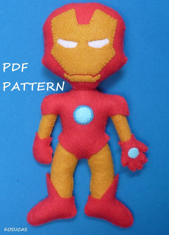 PDF patter to make a felt Iron Man. by Kosucas on Etsy