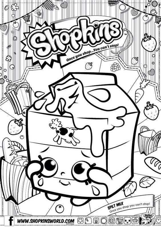 Shopkins Colour Color Page Spilt Milk ShopkinsWorld