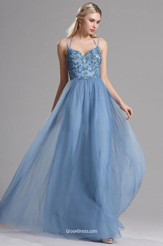 Chic Sky Blue Lace Tulle Slim Straps A-line Long Prom Dress