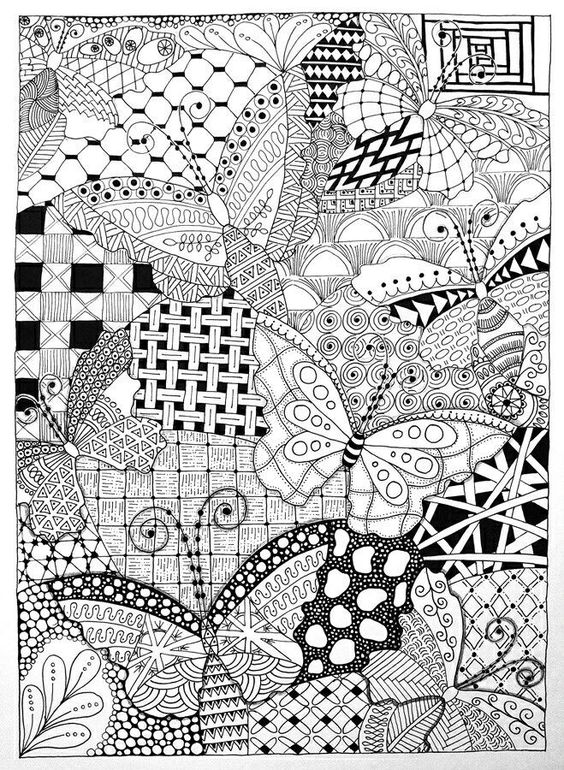Owl and Butterflies in Zentangle | Gardens, Coloring and ...