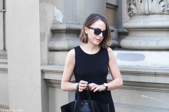 Trini | Ray-Ban wayfarer black sunglasses Gap black dress Celine Cabas bag Daniel Wellington watch