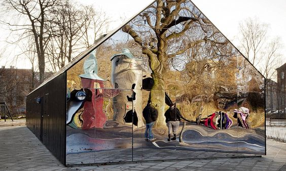 A reflection on society: Eye-catching building uses mirrors to deter graffiti artists