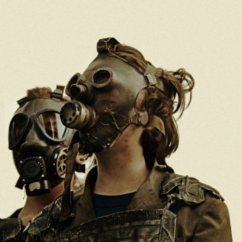 i like the base of a gas mask....the eyes on the left mask...and the strap placement.