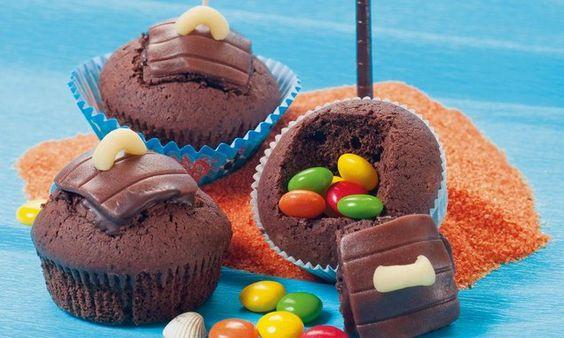 Schatz-Truckli - Für  Piraten und Schatzsucher - in diesen Schoko-Muffins warten Süssigkeiten darauf, entdeckt zu werden!