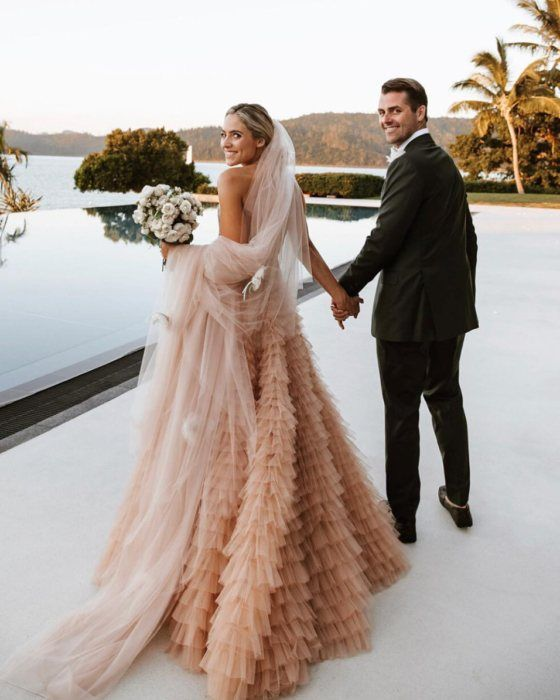 30 Color Wedding Dresses That Are Positively Perfect For Fall Brides Ruffled Pink Wedding Dresses Off White Wedding Dresses Wedding Dress Champagne