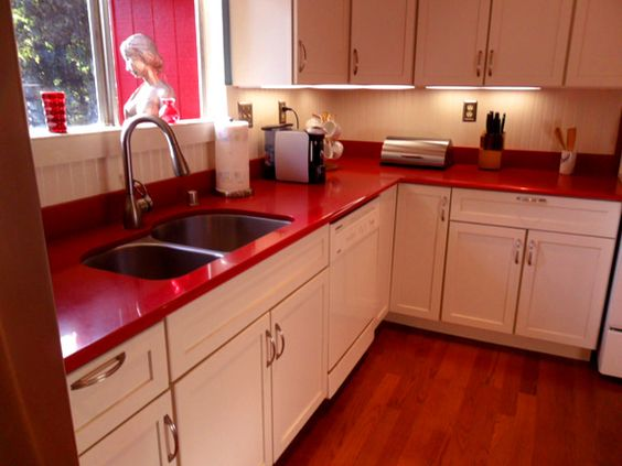 Red Quartz Countertop Google Search Kitchen