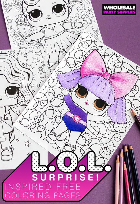 Lol Surprise Dolls Colouring Pages Lol Surprise Dolls Party Printable Lol Surprise Dolls Colouring Pages Instant Download Printable Birthday Coloring Pages Lol Dolls Doll Party
