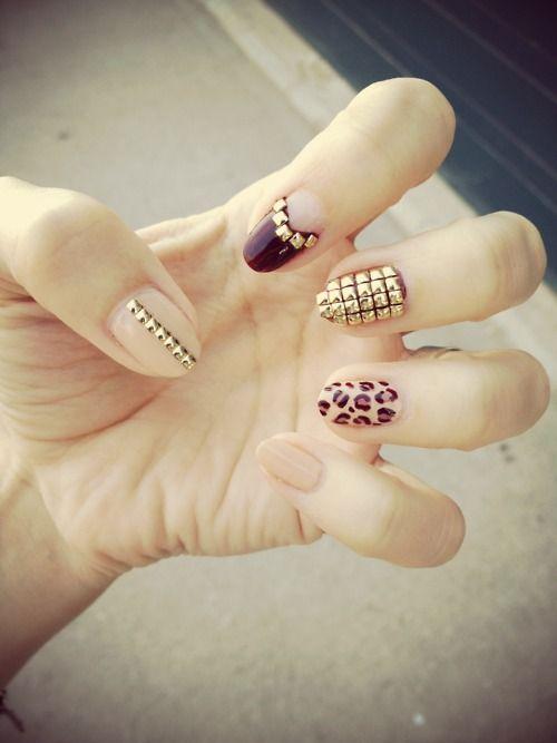 #leopard #gold #nude #burgundy #nails #art