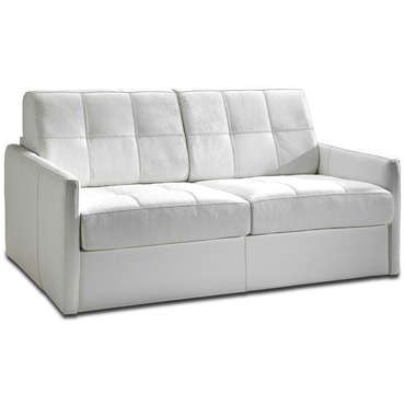 Canap convertible 3 places en cuir cuneo coloris blanc for Canape cuir blanc conforama
