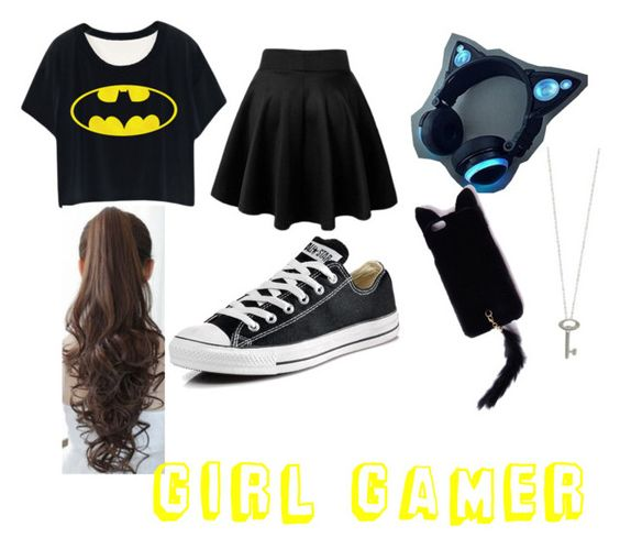 """""""Girl Gamer"""" by alycat1032 ❤ liked on Polyvore featuring Converse, Roberto Coin, Missguided, Pin Show, women's clothing, women's fashion, women, female, woman and misses"""