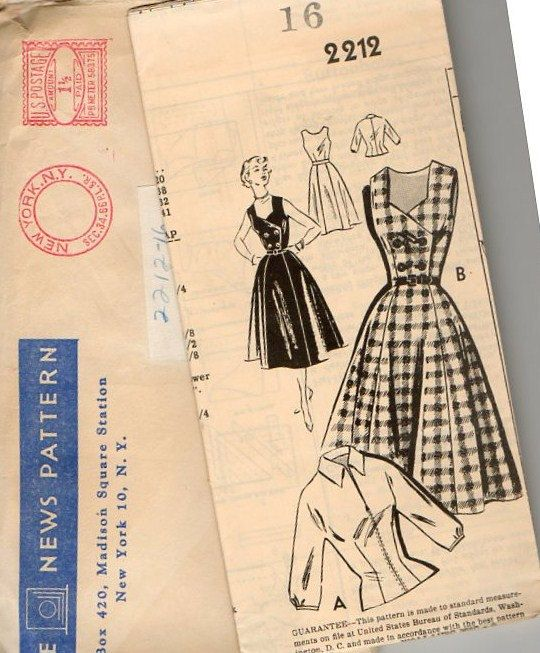 1950s Dress & Blouse  ~Front Zippered Blouse ~ Double Breasted Jumper Dress with Flared Skirt ~ Bust 34 ~  Vintage Frock by VivsVintageSewShop on Etsy