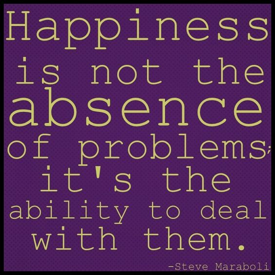 happiness is not the absence of problems...