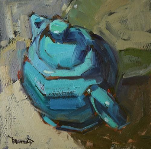 """Fiestaware Turquoise Tea"" - Original Fine Art for Sale - © Cathleen Rehfeld"