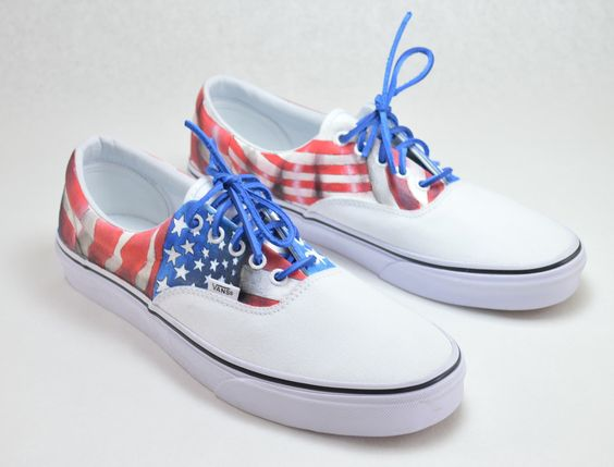 vans era blue red and white flags