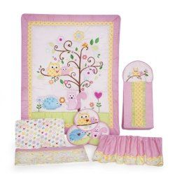 This owl baby girl bedding set is so cute and adorable, you can't help but love it!  It has so many cute accessories to help you decorate the nursery, you can't wait to bring baby home to this beautiful nursery!
