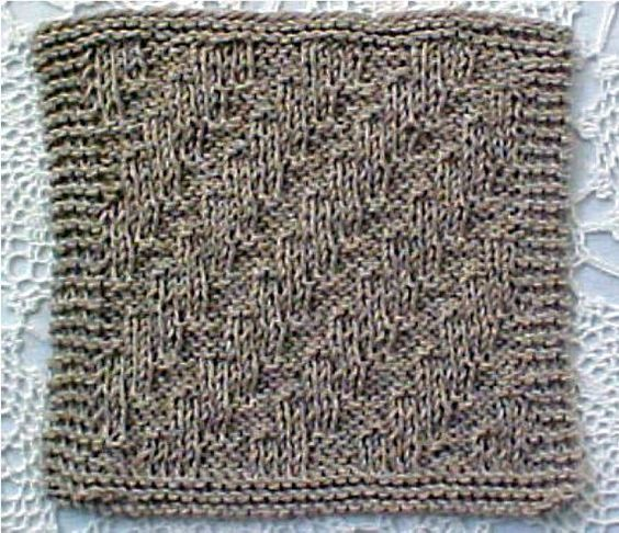 """Stair Step Dishcloth -A """"slightly"""" different style for a dishcloth! Unique, yet easy pattern! This is so fun to knit. Finished size is about 9"""" by 9 ½"""". We love the size and unique pattern stitch. You will just have to knit up some for your friends, as they will love something new like this! Uses machine washable worsted weight yarns, knitting needles, US # 10.  $1.25"""
