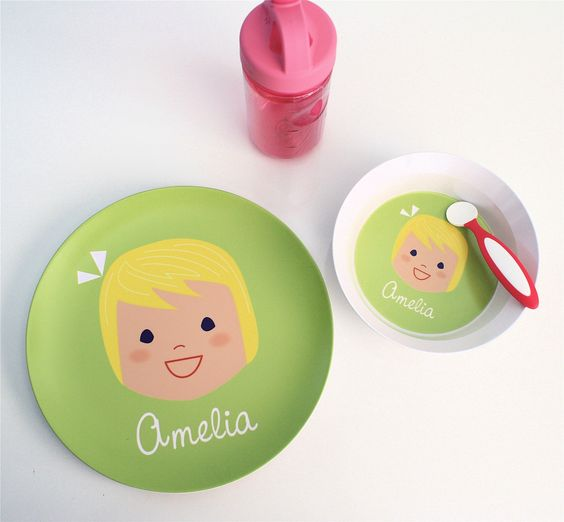 Custom Melamine Plate and Bowl Set  Girl or Boy by olliegraphic, $42.00