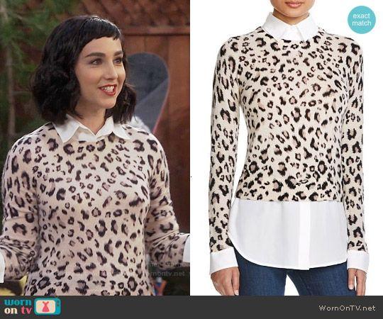 Mandy's leopard print sweater on Last Man Standing.  Outfit Details: https://wornontv.net/56616/ #LastManStanding
