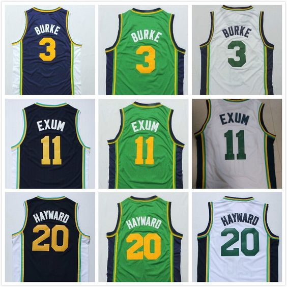 Free Shipping 11 Dante Exum 3 Trey Burke 20 Gordon Hayward White Dark Blue Green Jersey ,Stitched Logos basketball jersey hhq026  //Price: $US $16.88 & FREE Shipping //     #sports #sport #active #fit #football #soccer #basketball #ball #gametime   #fun #game #games