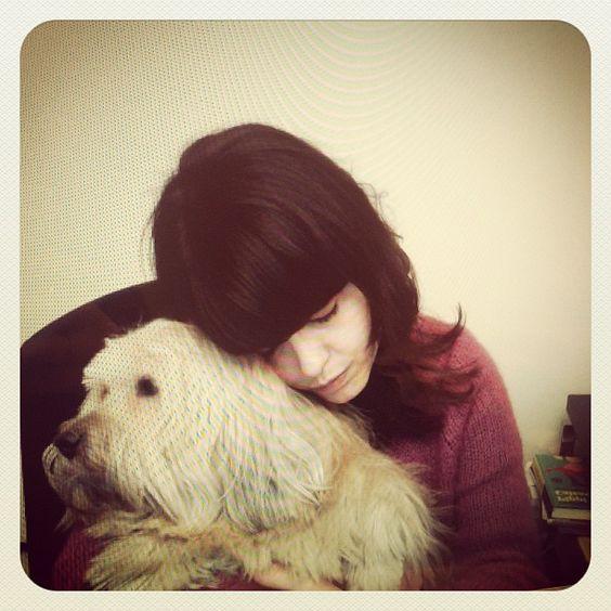 Con mi perro.