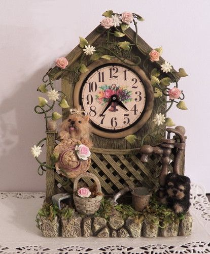 Working Garden shed clock with miniature Yorkie and puppy