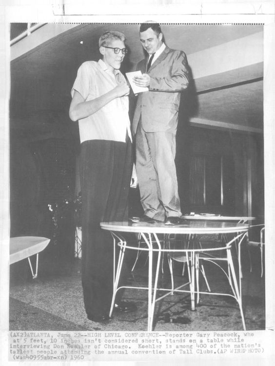 don koehler 8 feet 2 inches 248 9 cm interviewing a giant by standing on a table the. Black Bedroom Furniture Sets. Home Design Ideas