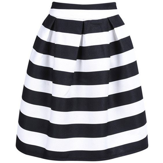 Choies Black And White Stripe High Waist A-line Skirt ($17 ...
