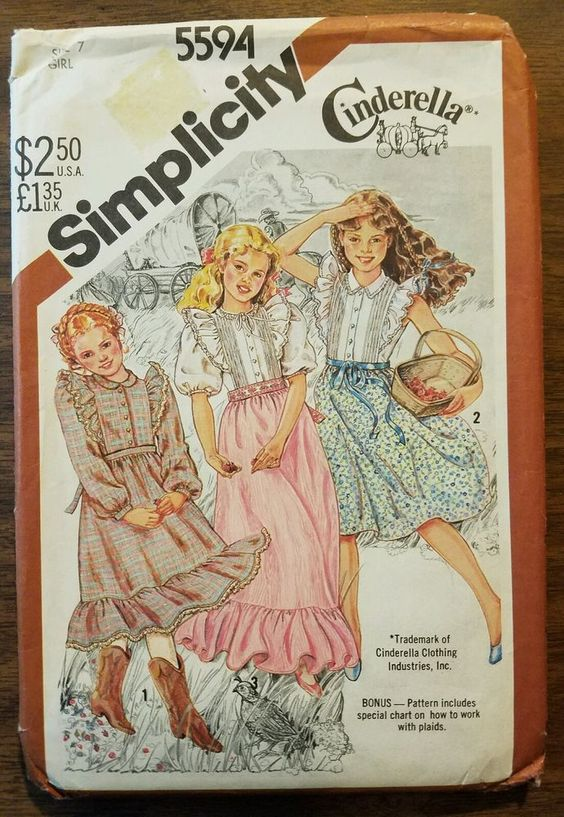 Vintage Simplicity 5594 CINDERELLA Girls Prairie Western Dress 3 lengths Size 7 in Möbel & Wohnen, Hobby & Künstlerbedarf, Nähen | eBay