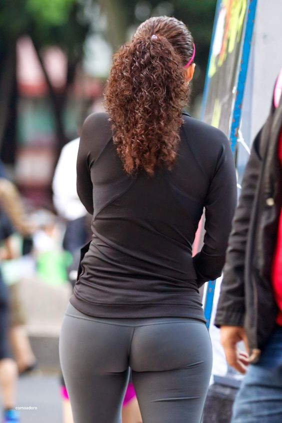 beautiful girls in tight leggings with big butt