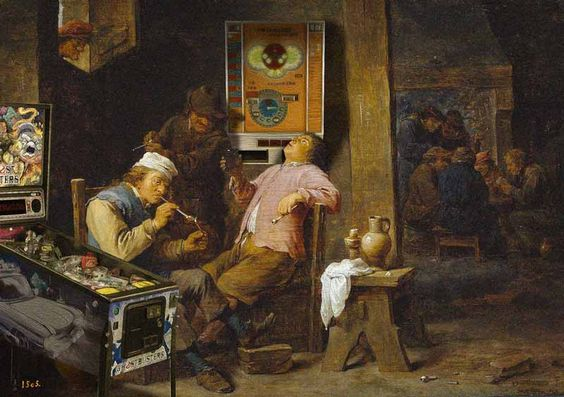 David Teniers der Jüngere, Raucher und Trinker (1652) – Rotamint Record 100 Münzautomat, Ghostbusters Premium Pinball Flipper