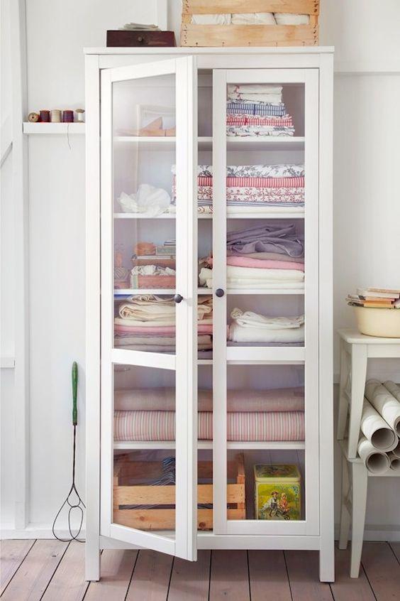 Linen Closet Storage Freestanding Cabinet Hemnes Glass