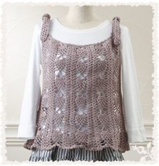 pineapple crochet tunic.  free pattern from clover Japan.  needs narrower straps?