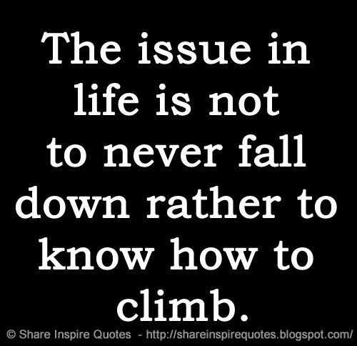The Issue In Life Is Not To Never Fall Down Rather To Know How To Climb Love Quotes Funny Inspirational Quotes Funny Quotes
