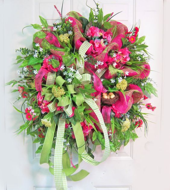 Deco Mesh Spring & Summer Wreath Gorgeous and by LadybugWreaths